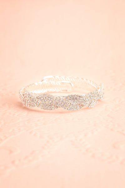Baucis Argent Crystal Studded Silver Bangle Bracelet front view | Boutique 1861