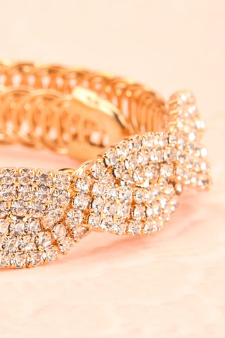 Baucis Or Crystal Studded Gold Bangle Bracelet front close-up | Boutique 1861