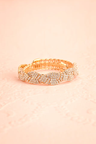 Baucis Or Crystal Studded Gold Bangle Bracelet front view | Boutique 1861