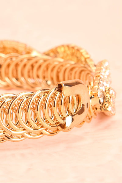 Baucis Or Crystal Studded Gold Bangle Bracelet back close-up | Boutique 1861