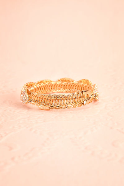 Baucis Or Crystal Studded Gold Bangle Bracelet back view | Boutique 1861
