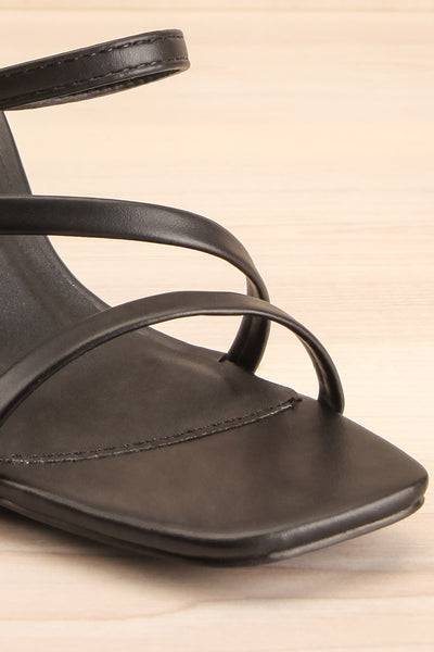 Baudoyer Black Heeled Sandals | La petite garçonne front close-up