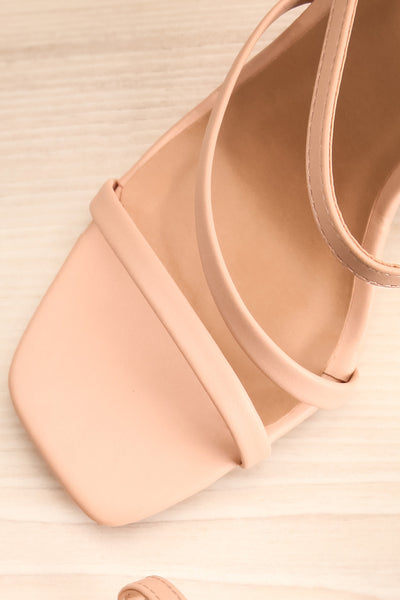 Baudoyer Pink Heeled Sandals | La petite garçonne flat close-up