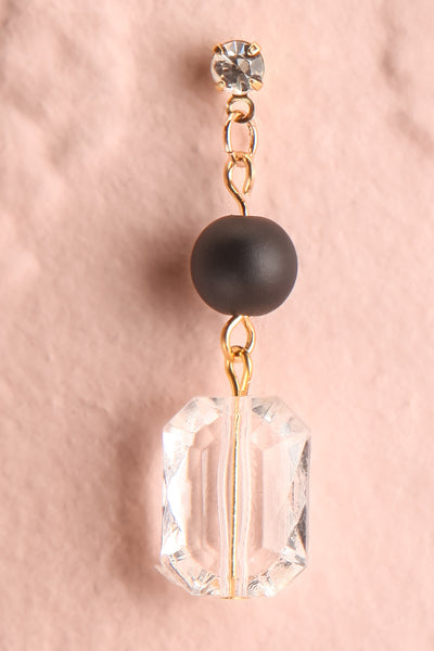 Bayla Black Bead & Crystal Pendant Earrings close-up | Boutique 1861