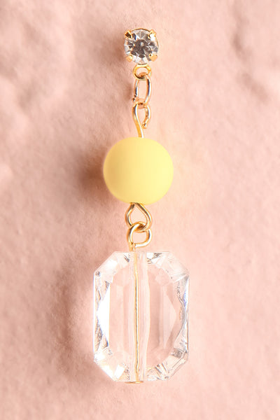 Bayla Yellow Bead & Crystal Pendant Earrings close-up | Boutique 1861