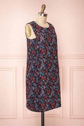 Baylor Black Floral Dress | Robe Fleurie side view | Boutique 1861