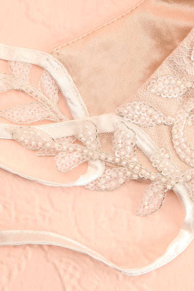 Beaded Bridal Face Mask White | Boudoir 1861 strings