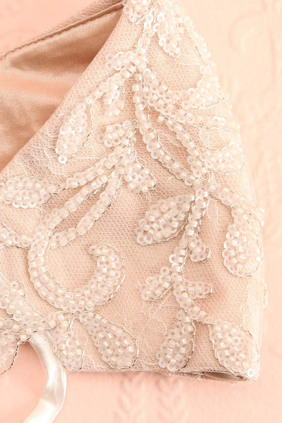 Beaded Bridal Face Mask White | Boudoir 1861 folded close-up