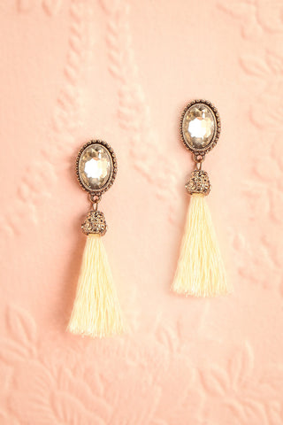 Beatus Snow - Cream pompom and crystal pendant earrings