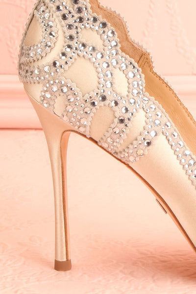 Beauregard Satin Silver Crystals High Heels side back close-up | Boudoir 1861