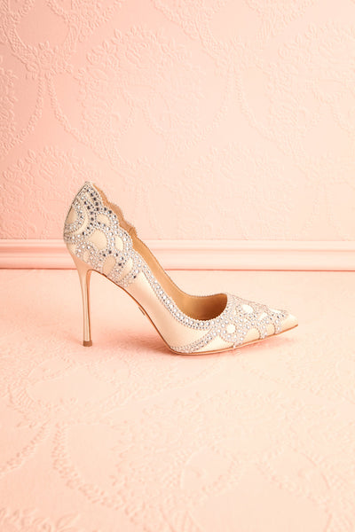 Beauregard Satin Silver Crystals High Heels side view | Boudoir 1861