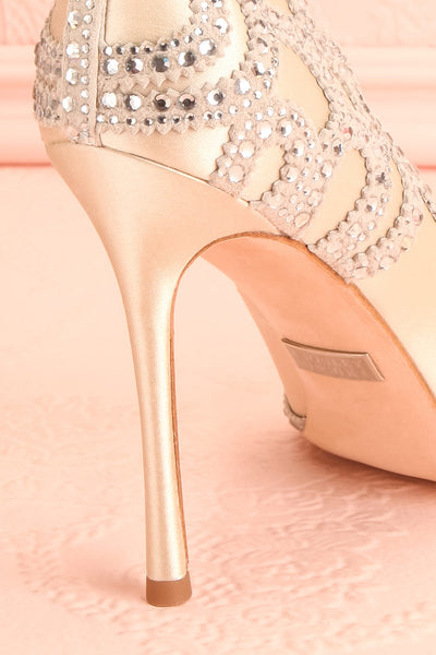 Beauregard Satin Silver Crystals High Heels back close-up | Boudoir 1861