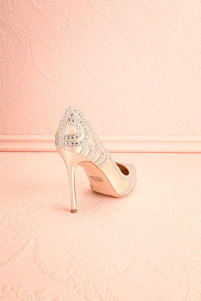 Beauregard Satin Silver Crystals High Heels back view | Boudoir 1861