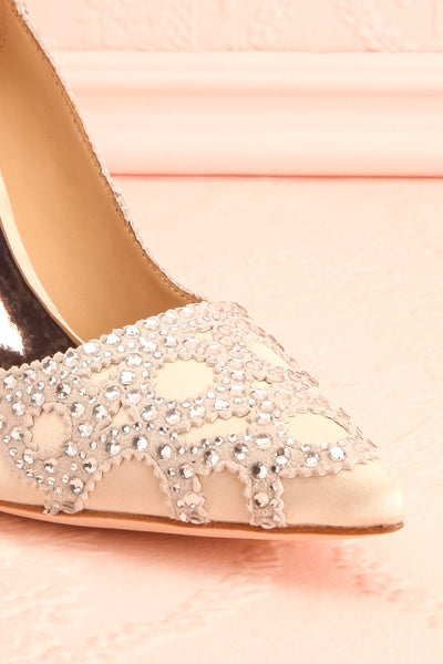Beauregard Satin Silver Crystals High Heels front close-up | Boudoir 1861