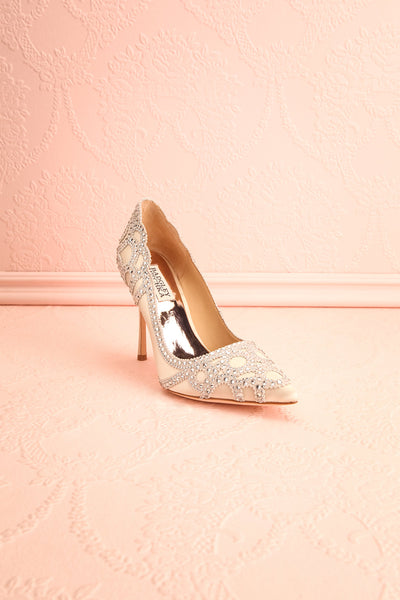 Beauregard Satin Silver Crystals High Heels front view | Boudoir 1861