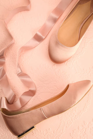 Beautreillis Blush Satin Ballet Flats with Ribbon | Boutique 1861