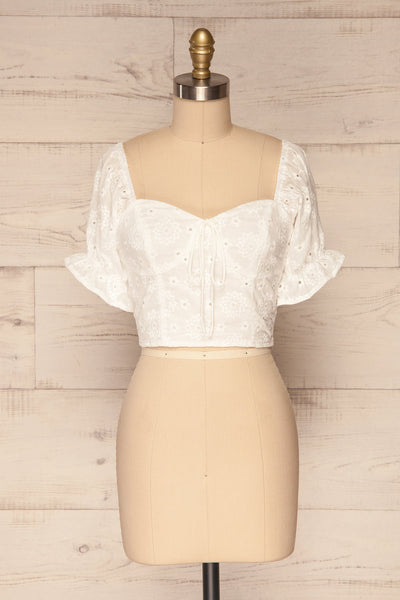 Bedzin White Lace Crop Top with Puff Sleeves | La Petite Garçonne 1