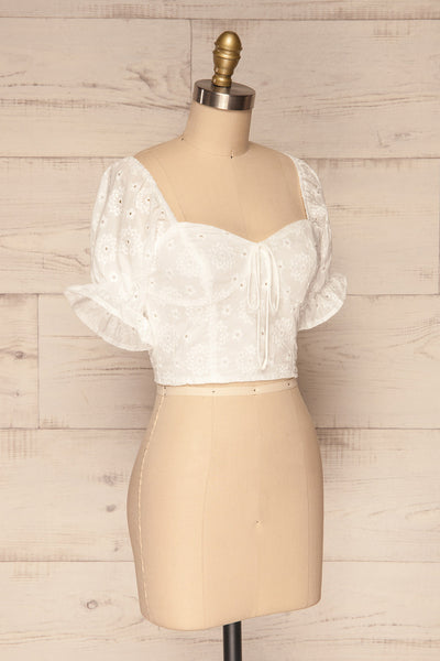 Bedzin White Lace Crop Top with Puff Sleeves | La Petite Garçonne 3