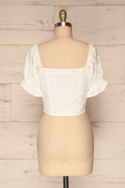 Bedzin White Lace Crop Top with Puff Sleeves | La Petite Garçonne 5