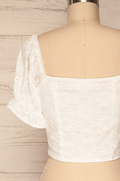 Bedzin White Lace Crop Top with Puff Sleeves | La Petite Garçonne 6