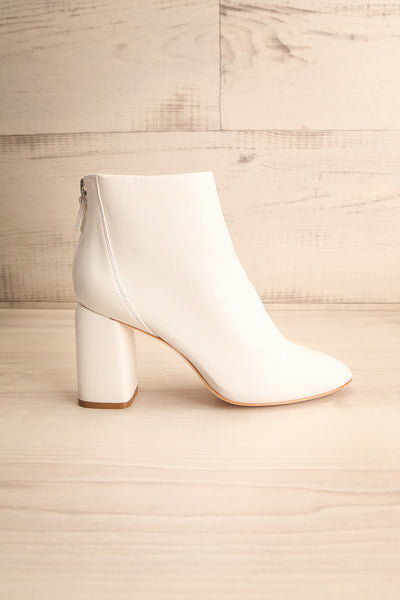 Beethoven White Heeled Ankle Boots side view | La Petite Garçonne Chpt. 2