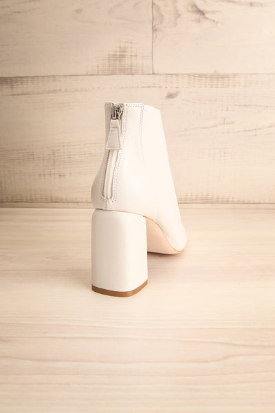 Beethoven White Heeled Ankle Boots back view | La Petite Garçonne Chpt. 2