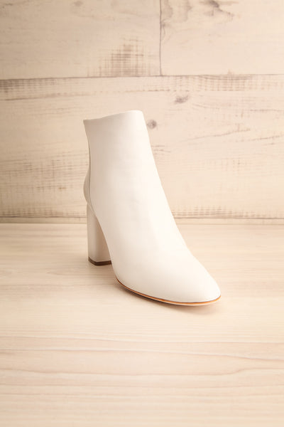 Beethoven White Heeled Ankle Boots front view | La Petite Garçonne Chpt. 2