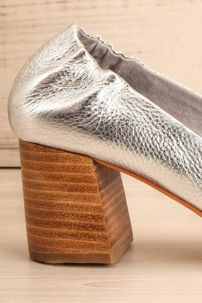 Belem Argenté Leather Block Heel Shoes side heel close-up | La Petite Garçonne Chpt. 2