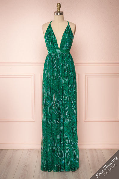 Belgrade Green Tropical A-Line Maxi Dress | FRONT VIEW | Boutique 1861