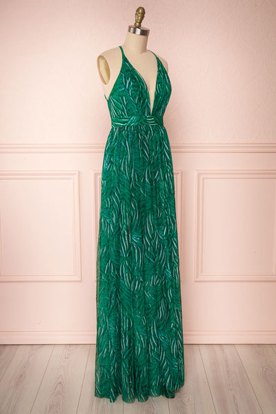 Belgrade Green Tropical A-Line Maxi Dress | SIDE VIEW | Boutique 1861