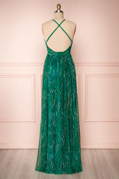 Belgrade Green Tropical A-Line Maxi Dress | BACK VIEW | Boutique 1861