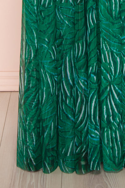 Belgrade Green Tropical A-Line Maxi Dress | BOTTOM CLOSE UP | Boutique 1861