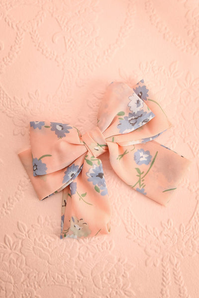 Belladone Aube Light Pink Floral Bow Hair Clip | Boutique 1861 1