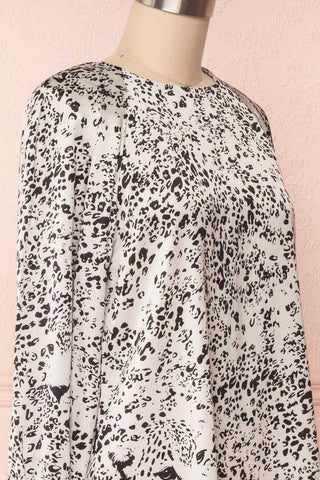 Bellanca Black & White Leopard Print Silky Tunic Dress | SIDE CLOSE UP | Boutique 1861
