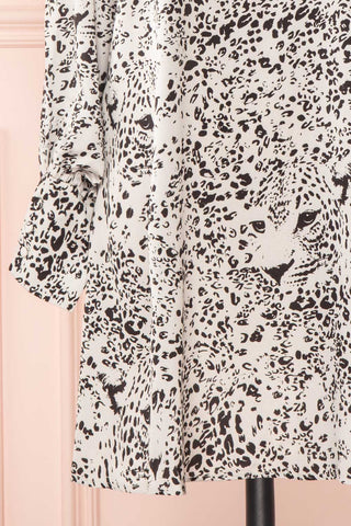 Bellanca Black & White Leopard Print Silky Tunic Dress | BOTTOM CLOSE UP | Boutique 1861