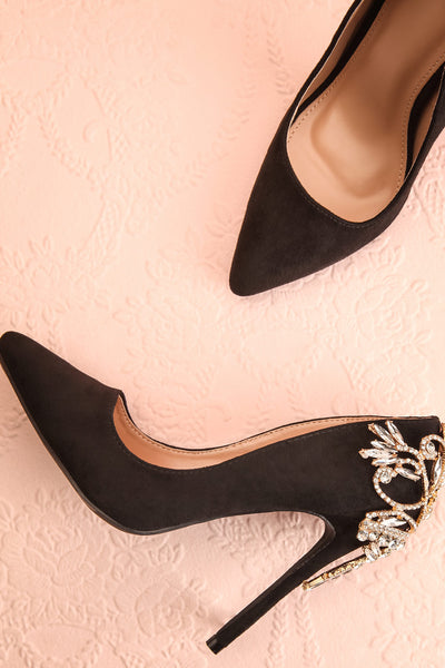 Bellini Black Faux Suede Stilettos with Crystals | Boutique 1861
