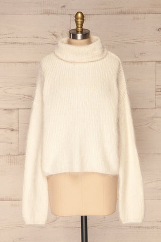 Benavente Cream Fuzzy Knit Turtleneck Sweater | La Petite Garçonne front view