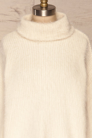 Benavente Cream Fuzzy Knit Turtleneck Sweater | La Petite Garçonne front close-up