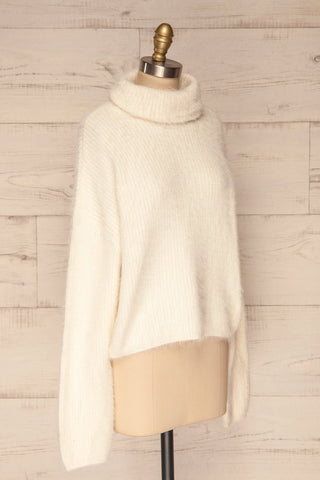 Benavente Cream Fuzzy Knit Turtleneck Sweater | La Petite Garçonne side view