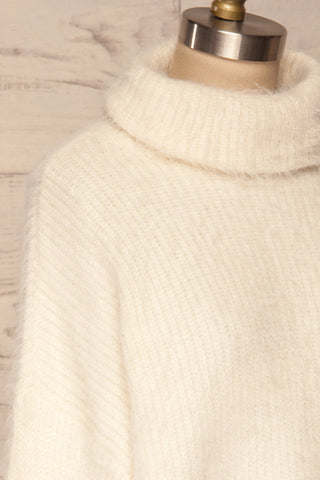 Benavente Cream Fuzzy Knit Turtleneck Sweater | La Petite Garçonne side close-up