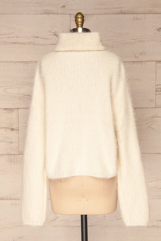Benavente Cream Fuzzy Knit Turtleneck Sweater | La Petite Garçonne back view