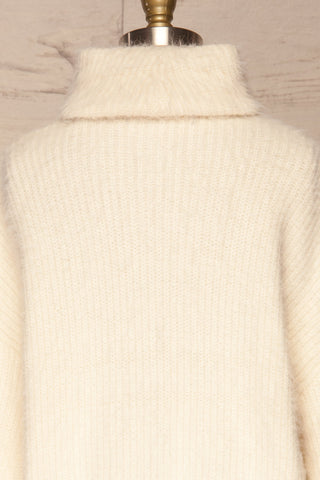 Benavente Cream Fuzzy Knit Turtleneck Sweater | La Petite Garçonne back close-up