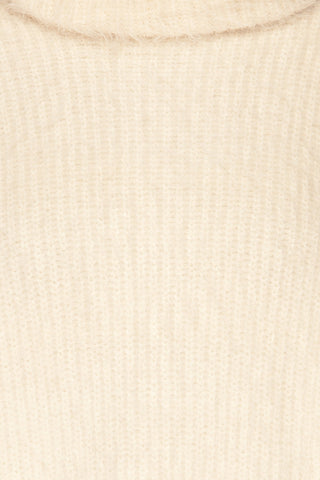 Benavente Cream Fuzzy Knit Turtleneck Sweater | La Petite Garçonne fabric detail