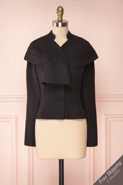 Benedicte Black Fitted Vintage Blazer Jacket | FRONT VIEW | Boutique 1861