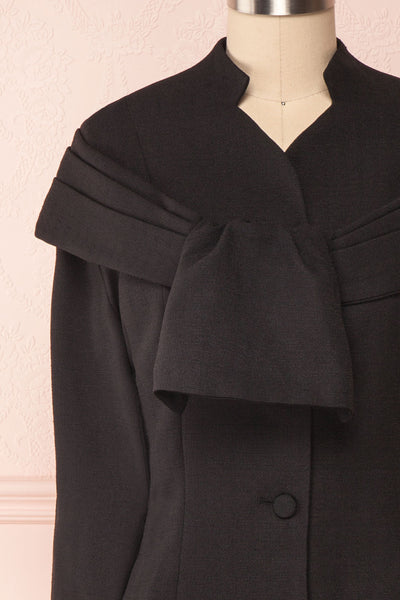 Benedicte Black Fitted Vintage Blazer Jacket | FRONT CLOSE UP | Boutique 1861