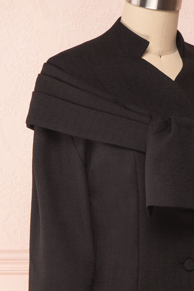 Benedicte Black Fitted Vintage Blazer Jacket | SIDE CLOSE UP | Boutique 1861