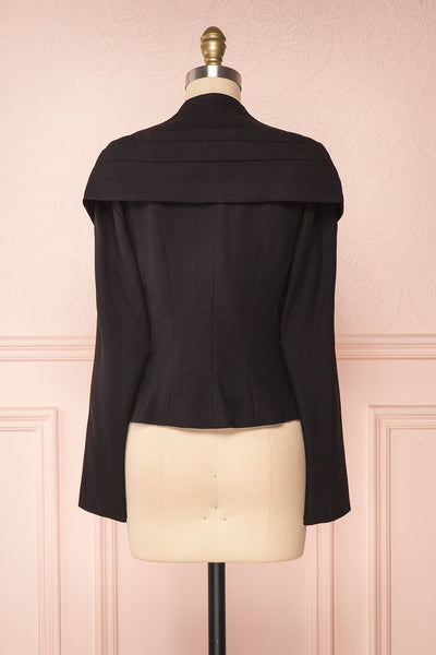 Benedicte Black Fitted Vintage Blazer Jacket | BACK VIEW | Boutique 1861