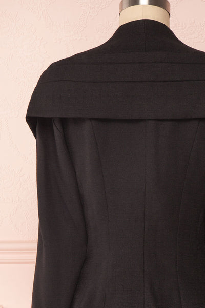 Benedicte Black Fitted Vintage Blazer Jacket | BACK CLOSE UP | Boutique 1861