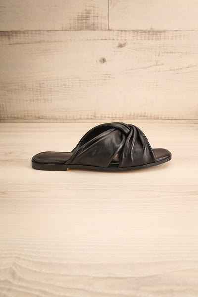 Benere Black Leather Knotted Slide Sandals | La petite garçonne side view