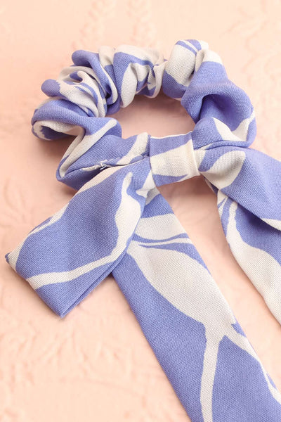 Benis Blue Hair Scrunchie w/ Bow | Boutique 1861 close-up